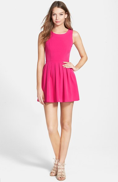 Smai NYC Pleated Skater Dress in Hot Pink