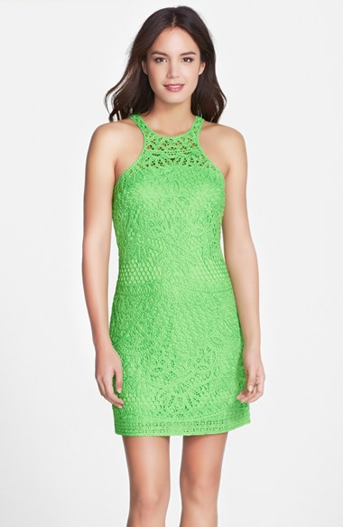 Lilly Pulitzer® 'Jaimie' Cutaway Crochet Shift Dress in New Green Knit Crochet