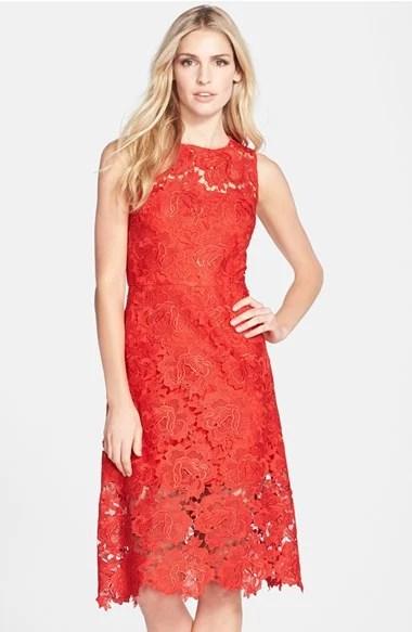 Julia Jordan Illusion Yoke Lace Fit & Flare Dress in Red