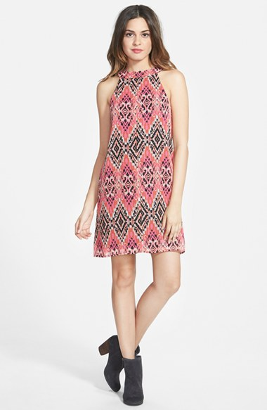 Socialite High Neck Shift Print Dress in Pink/Black Multi