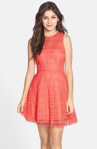 BB Dakota Zigzag Lace Fit & Flare Dress in Sorbet
