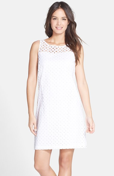 Marc New York by Andrew Marc Eyelet Shift Dress in White