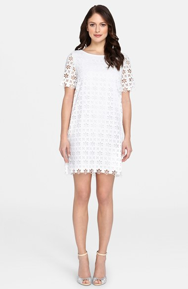Catherine Catherine Malandrino 'Courtney' Eyelet Shift Dress in White