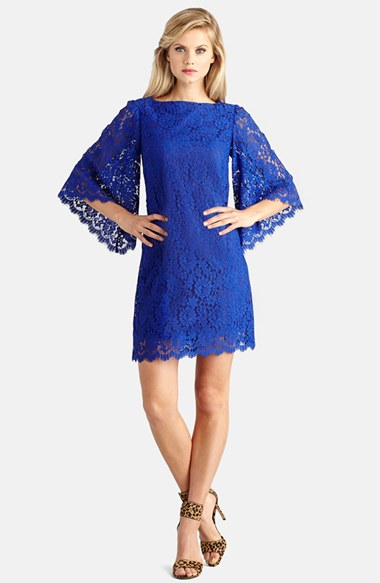 Donna Morgan Bell Sleeve Lace Shift Dress in Blue Sapphire
