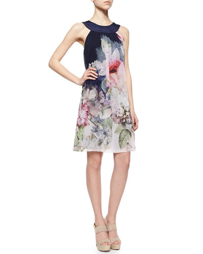 Ted Baker London  Peony Chiffon Shift Dress Navy and Pink