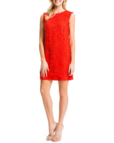 Cynthia Steffe  Ranya Sleeveless Lace Dress in Tomato Red