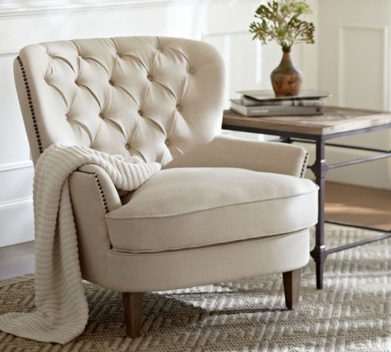 Pottery Barn CARDIFF TUFTED UPHOLSTERED ARMCHAIR
