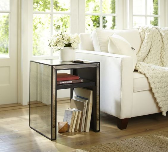 Pottery Barn MARNIE MIRRORED SIDE TABLE