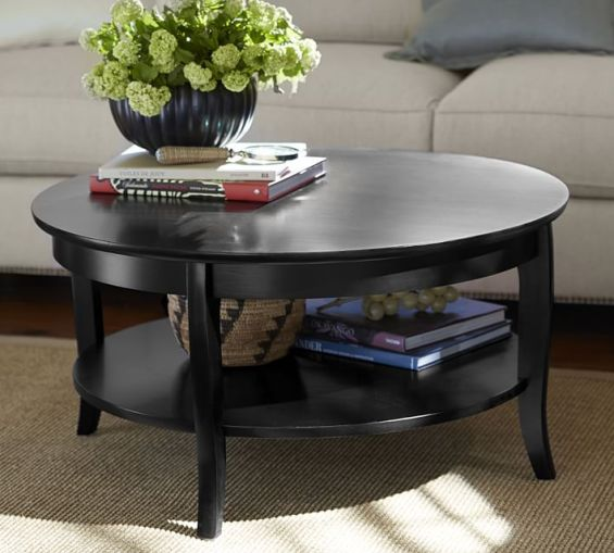 Pottery Barn CHLOE ROUND COFFEE TABLE in Mahogany Stain or Black