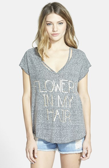 COCO & JAMESON 'Flowers in My Hair' Graphic Tee (Juniors) in Heather Grey