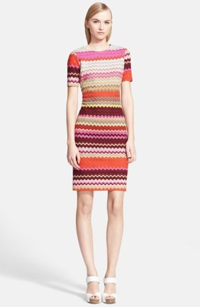 Missoni Short Sleeve Patchwork Zigzag Knit Dress in Red Multi.  Nordstrom