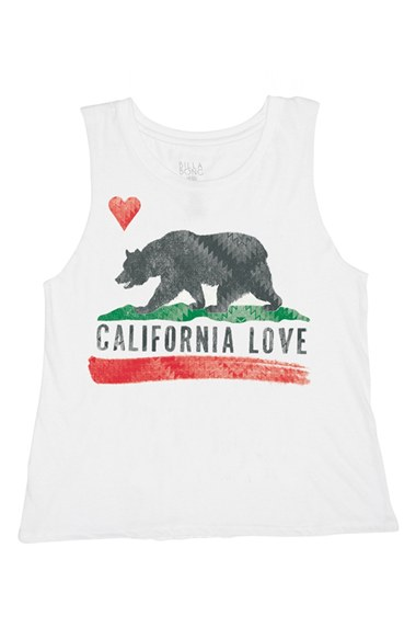 Billabong 'California Bears Republic' Graphic Muscle Tee (Juniors) in White