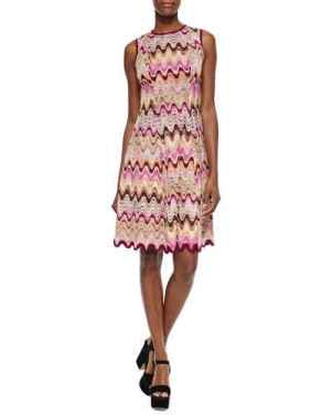 Missoni Wave-Striped Fit-And-Flare Dress in Pink Multi