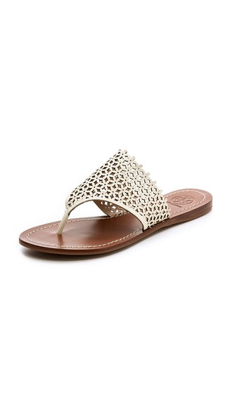 Tory Burch Daisy Perforated Flat Thong Sandals in Ivory. Shopbop
