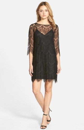 cupcakes and cashmere 'Marin' Lace Overlay Shift Dress in Black