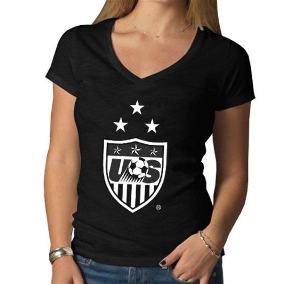'47 Brand US Soccer Women's Black 3-Star Crest Scrum V-Neck T-Shirt