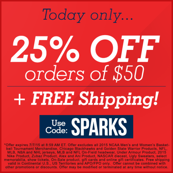 Today only... 25% off orders of $50 plus free shipping.