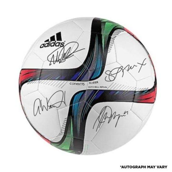 Fanatics Authentic US Women's Soccer Team 2015 World Champions Autographed Adidas White Glider Soccer Ball - Four Signatures Alex Morgan, Megan Rapinoe, Sydney Leroux, Abby Wambach