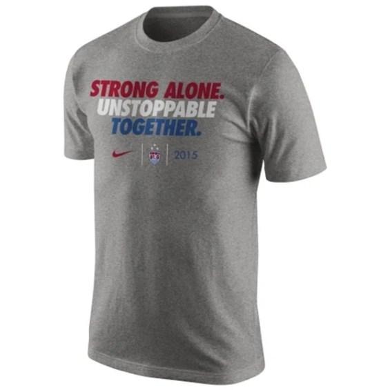 Nike US Women's Soccer Team Heather Gray 2015 World Champions Slogan Dri-FIT T-Shirt