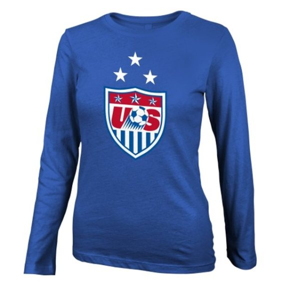 US Soccer Girls Youth Royal 3-Star Fashion Fit Crest Long Sleeve T-Shirt