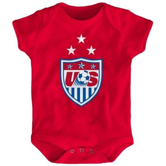 US Soccer Newborn Red 3-Star Crest Bodysuit