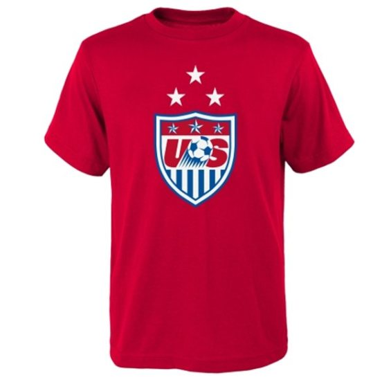 US Soccer Youth Red 3-Star Crest T-Shirt
