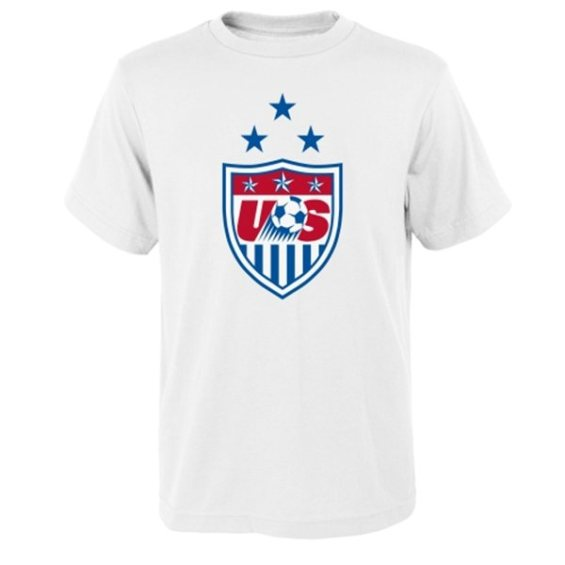 US Soccer Youth White 3-Star Crest T-Shirt