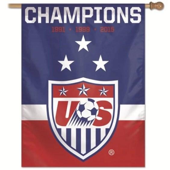 WinCraft US Women's Soccer Team 2015 World Cup Champions Vertical Flag