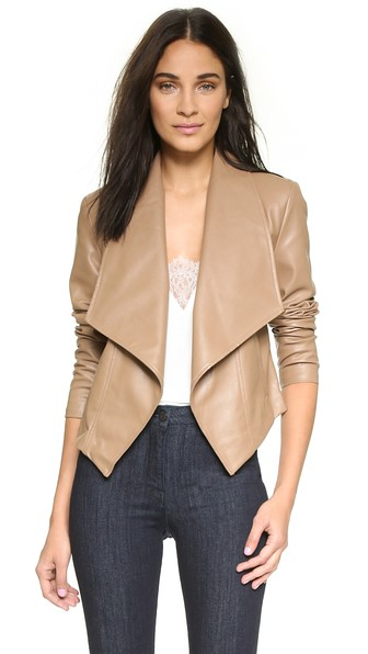 cupcakes and cashmere faux leather Market Jacket in Light Camel