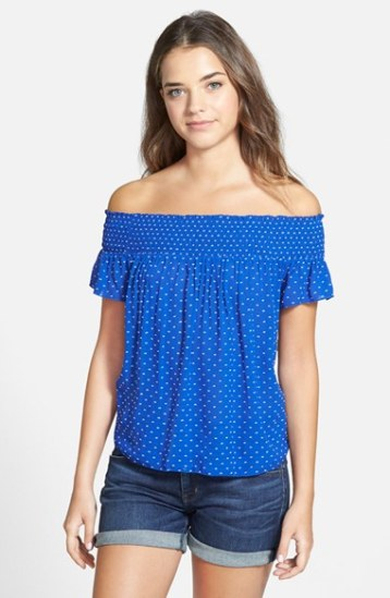 Hinge Smocked Print Off-the-Shoulder Top in Blue Mazarine Dot