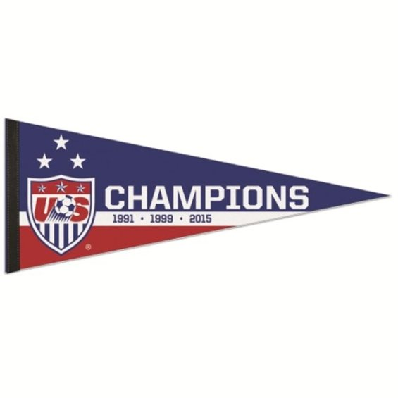 "WinCraft US Women's Soccer Team 1991, 1999, 2015 World Cup Champions 12"" x 30"" Premium Pennant"