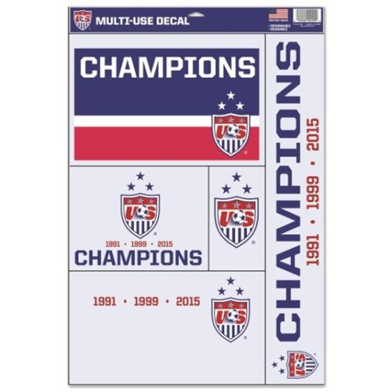 """WinCraft US Women's Soccer Team 2015 World Cup Champions 11"""" x 17"""" Multi-Use Decal Sheet"""