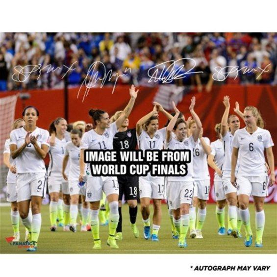 "Fanatics Authentic US Women's Soccer Team 2015 World Champions Autographed 16"" x 20"" Celebration Photograph - Four Signatures Alex Morgan, Megan Rapinoe, Sydney Leroux, and Abby Wambach"