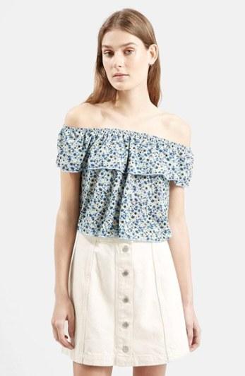 Topshop Floral Print Off the Shoulder Top in Blue Multi