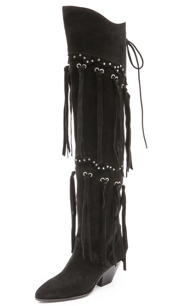 Giuseppe Zanotti Suede Fringe Over the Knee Boots in Black