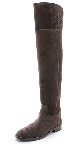 Tory Burch Simone Suede Over the Knee Boots in Cafe