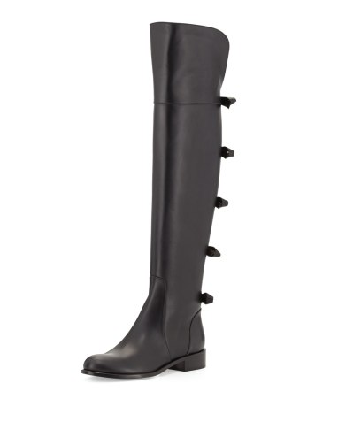 Valentino Bow-Back Over-the-Knee Boot in Noir