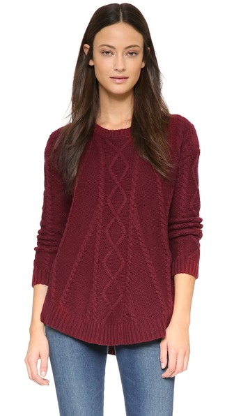 Splendid Fireplace Cable Swing Sweater in Claret Red. Shopbop