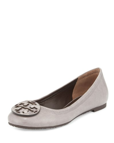 Tory Burch Reva Leather Ballet Flat, Taupe