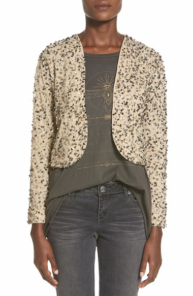 Billabong 'Eyes on Me' Sequin Cutaway Jacket in Metallic