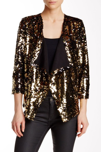 Free Press Shine Cardigan Jacket in Metallic Gold