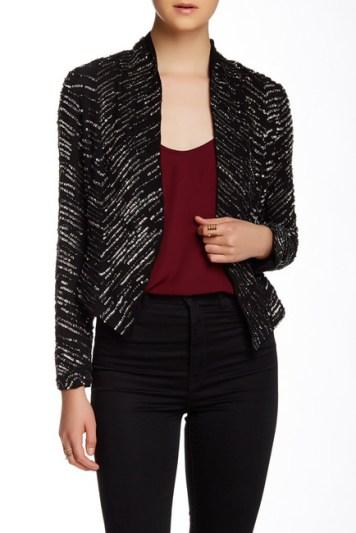 Haute Hippie Sequin Embellished Silk Jacket in Black Multi