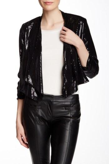 Laundry By Shelli Segal Sequin Drape Jacket in Black