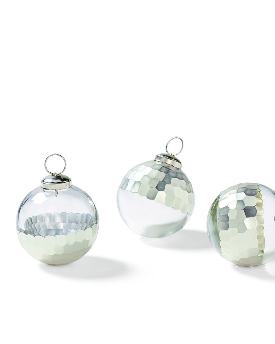 Plated Glass Ornaments (Set of 3) in Silver. Serena & Lily