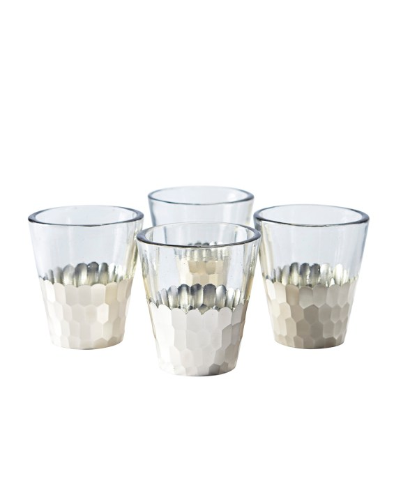Plated Glass Votives (Set of 4) in Silver. Serena & Lily