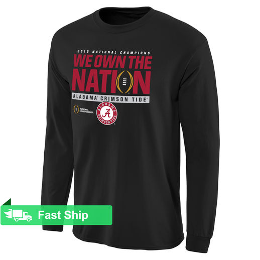 ALABAMA CRIMSON TIDE BLACK COLLEGE FOOTBALL PLAYOFF 2015 NATIONAL CHAMPIONS WE OWN THE NATION LONG SLEEVE T-SHIRT