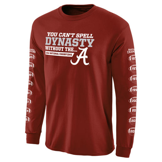 ALABAMA CRIMSON TIDE CRIMSON COLLEGE FOOTBALL PLAYOFF 2015 NATIONAL CHAMPIONS DYNASTY LONG SLEEVE T-SHIRT