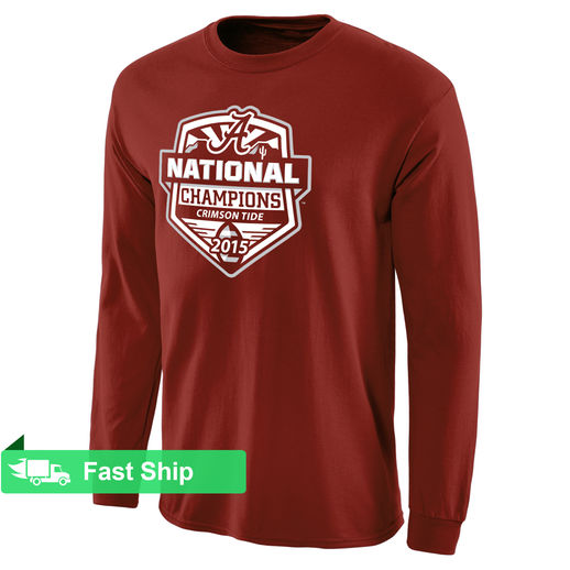ALABAMA CRIMSON TIDE CRIMSON COLLEGE FOOTBALL PLAYOFF 2015 NATIONAL CHAMPIONS OFFICIAL LONG SLEEVE T-SHIRT