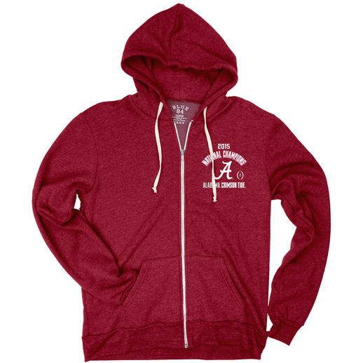 BLUE 84 ALABAMA CRIMSON TIDE CRIMSON COLLEGE FOOTBALL PLAYOFF 2015 NATIONAL CHAMPIONS TRI-BLEND FULL-ZIP HOODIE