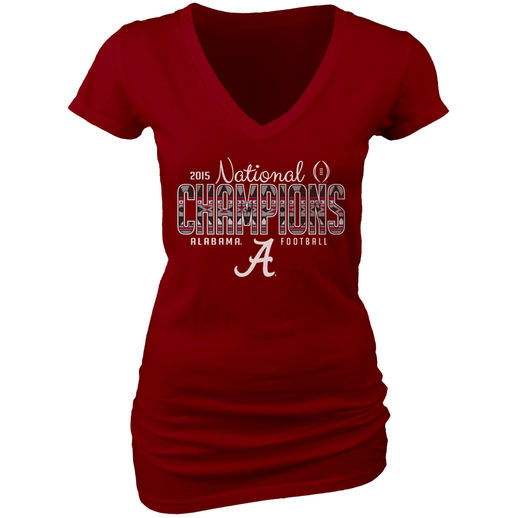 BLUE 84 ALABAMA CRIMSON TIDE WOMEN'S CRIMSON COLLEGE FOOTBALL PLAYOFF 2015 NATIONAL CHAMPIONS DYED V-NECK T-SHIRT